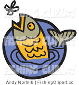 Clip Art of a Gray and Orange Trout Jumping out of Water to Catch a Fly by Andy Nortnik