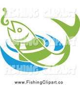 Clip Art of a Green Fish Leaping for a Hook over Blue Rippling Water by Patrimonio