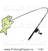 Clip Art of a Green Fish on a Line by Johnny Sajem