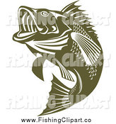Clip Art of a Green Jumping Largemouth Bass Fish Facing Left by Patrimonio