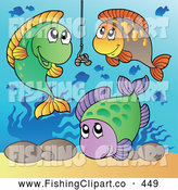 Clip Art of a Group of Friendly Fish Swimming Around a Worm on a Hook by Visekart