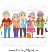 Clip Art of a Group of Happy Diverse Senior Adults by BNP Design Studio