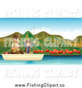 Clip Art of a Happy Boy Cheering and Fishing with His Father on a Lake by Graphics RF