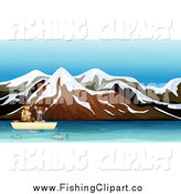 Clip Art of a Happy Boy Fishing with His Father on an Alpine Lake by Graphics RF