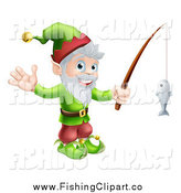 Clip Art of a Happy Christmas Elf Waving and Holding a Fishing Pole by AtStockIllustration