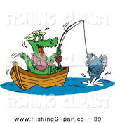 Clip Art of a Happy Crocodile Fishing in a Boat, Reeling in His Catch by Dennis Holmes Designs