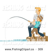 Clip Art of a Happy Father and Son Reeling in a Big Catch by BNP Design Studio