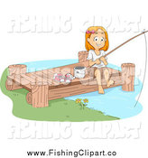 Clip Art of a Happy Girl Fishing on a Dock by BNP Design Studio