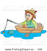 Clip Art of a Happy Irish Man Looking at a Fish from a Boat by Visekart