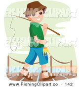 Clip Art of a Happy Little Boy Going Fishing off the Dock by BNP Design Studio