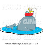 Clip Art of a Happy Whale Caught on a Fishing Pole, Lifting up a Man in His Boat by Jtoons