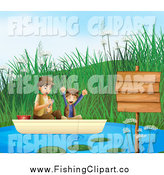 Clip Art of a Happy White Boy and His Father Fishing by a Sign by Graphics RF