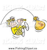 Clip Art of a Happy White Fisherman Reeling in a Money Bag Catch by Johnny Sajem