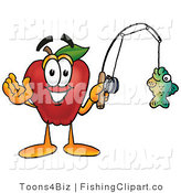 Clip Art of a Healthy Red Apple Character Mascot Holding a Fish on a Fishing Pole by Toons4Biz