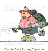 Clip Art of a Hiker Carrying Camping Gear and a Fishing Pole by Djart