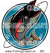Clip Art of a Jumping Fish Trying to Eat a Hook by Vector Tradition SM