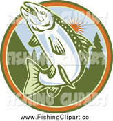 Clip Art of a Jumping Trout Fish in a Tree and Sun Circle by Patrimonio