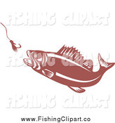 Clip Art of a Largemouth Bass Fish Chasing a Hook and Lure by Patrimonio