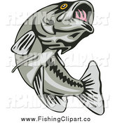 Clip Art of a Leaping Largemouth Bass Fish by Patrimonio