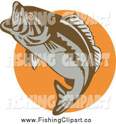 Clip Art of a Leaping Largemouth Bass Fish over an Orange Circle by Patrimonio