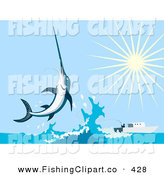 Clip Art of a Leaping Swordfish near a Boat, on a Bright Shiny Day by Patrimonio