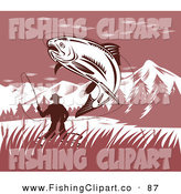Clip Art of a Leaping Trout Caught on a Fisherman's Hook and Line by Patrimonio