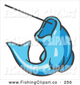 Clip Art of a Light Blue Trout Fish Jumping up and Biting a Hook on a Fishing Line by Leo Blanchette