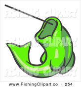 Clip Art of a Lime Green Trout Fish Jumping up and Biting a Hook on a Fishing Line by Leo Blanchette