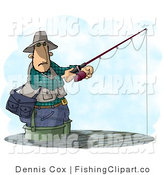 Clip Art of a Man Fishing in a Lake by Djart