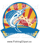 Clip Art of a Marlin Jumping over a Sunset Circle and Banner by Patrimonio