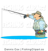 Clip Art of a Middle Aged White Man Wearing a Hat and Vest, Wading in Water, Holding a Fish and Fishing by Djart