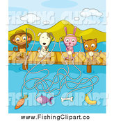 Clip Art of a Monkey, Dog, Rabbit, and Cat Fishing with Different Bait off of a Dock by Graphics RF