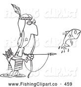 Clip Art of a Native American Man Bow Fishing, on White by Toonaday