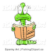 Clip Art of a Nervous, Young, Shaking Male Bookworm Reading a Book About Fishing Hooks by Spanky Art
