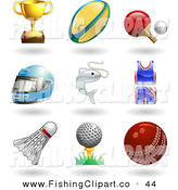 Clip Art of a Nine Trophy Cup, Rugby Ball, Ping Pong Paddle and Ball, Helmet, Fish, Uniform, Shuttlecock, Golfball on Tee and a Cricket Ball by AtStockIllustration