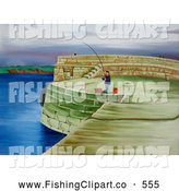 Clip Art of a Painting of a Man Fishing on a Coastal Pier by Prawny