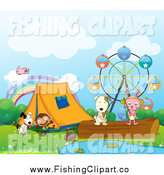 Clip Art of a Rabbit and Dog Fishing by Fairgrounds and Tent with a Monkey Bird and Canine by Graphics RF