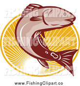 Clip Art of a Red Drum Bass Fish Jumping over an Oval of Rays by Patrimonio