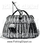 Clip Art of a Retro Black and White Bobber and Hook with a Fishing Basket by Prawny Vintage