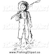 Clip Art of a Retro Black and White Boy with a Fishing Pole by Prawny Vintage