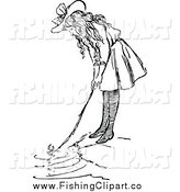 Clip Art of a Retro Black and White Girl Fishing by Prawny Vintage