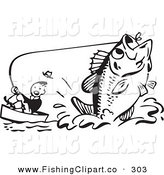 Clip Art of a Retro Black and White Man Pulling up a Giant Fish by BestVector