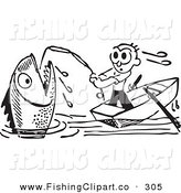 Clip Art of a Retro Black and White Man Reeling in a Giant Fish on White by BestVector