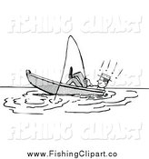 Clip Art of a Retro Black and White Man Relaxing and Leaning Back in a Boat While Fishing by Prawny Vintage