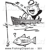 Clip Art of a Retro Black and White Man Sleeping in a Boat Missing Catching a Fish by BestVector