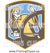 Clip Art of a Retro Captain Fisherman Steering at a Helm in a Shield by Patrimonio