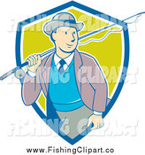 Clip Art of a Retro Cartoon White Male Tourist Carrying a Fly Fishing Rod over His Shoulder in a Blue White and Green Shield by Patrimonio