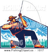 Clip Art of a Retro Fly Fisherman Casting and Reeling over a Mountains Shield by Patrimonio