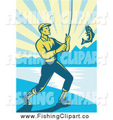 Clip Art of a Retro Fly Fisherman Reeling in a Largemouth Bass on a Beach at Sunrise by Patrimonio