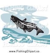 Clip Art of a Retro Leaping Catfish over Water by Patrimonio